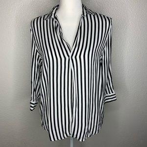 Bershka Women's Black & White Striped Blouse Top